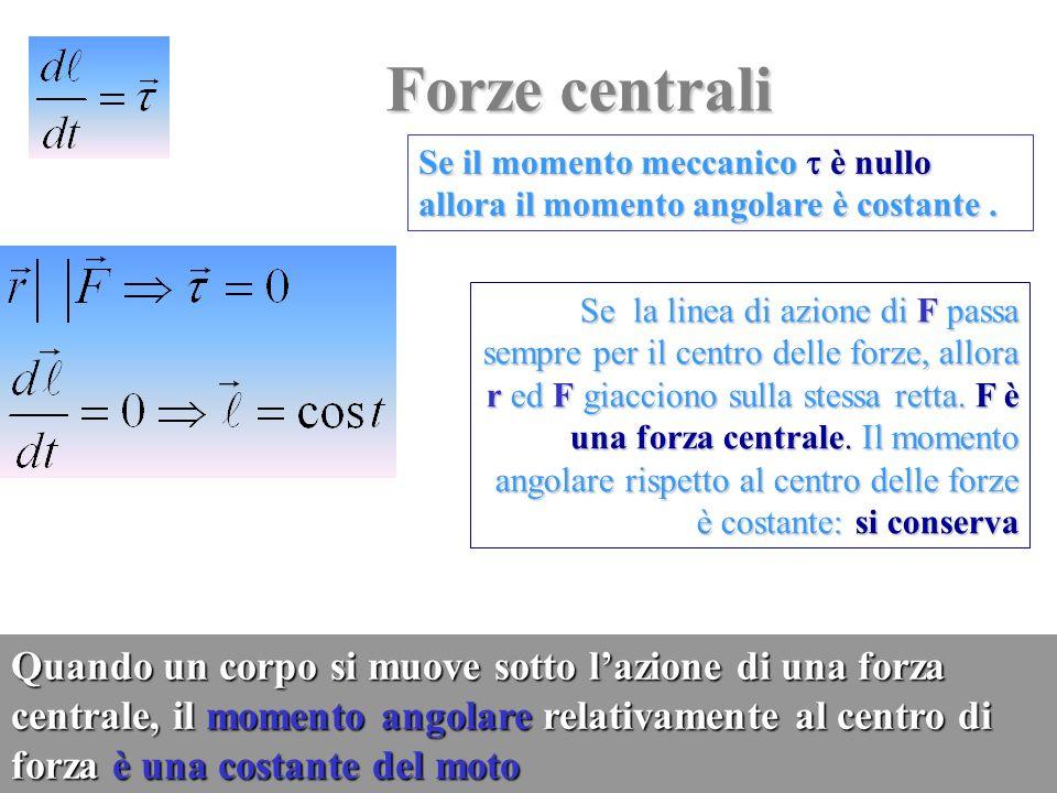 Forze centrali Se il momento meccanico  è nullo allora il momento angolare è costante .