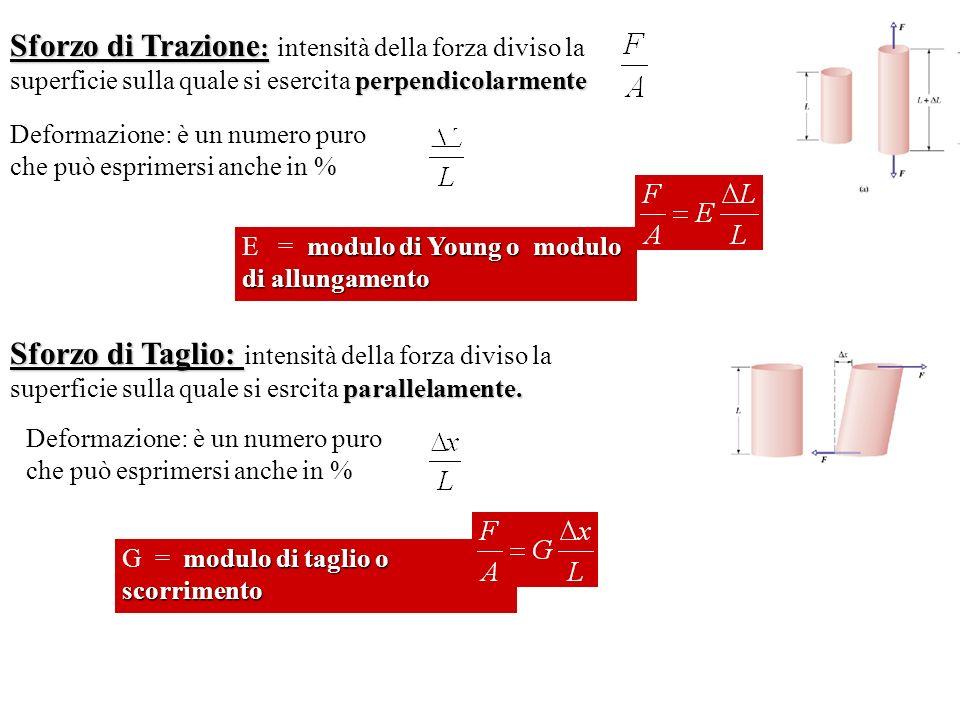 Sforzo di Trazione: intensità della forza diviso la superficie sulla quale si esercita perpendicolarmente