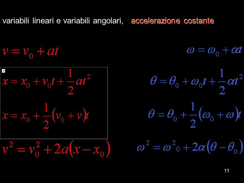 variabili lineari e variabili angolari, accelerazione costante