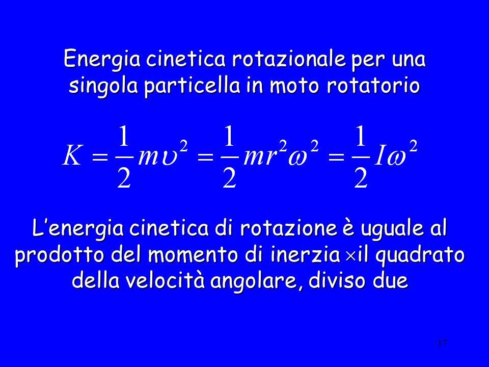 Energia cinetica rotazionale per una singola particella in moto rotatorio