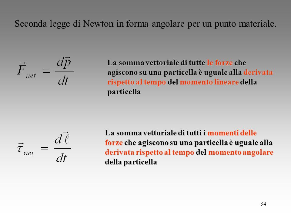 Seconda legge di Newton in forma angolare per un punto materiale.