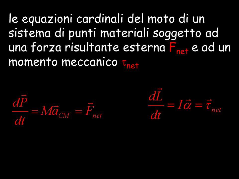 le equazioni cardinali del moto di un sistema di punti materiali soggetto ad una forza risultante esterna Fnet e ad un momento meccanico net