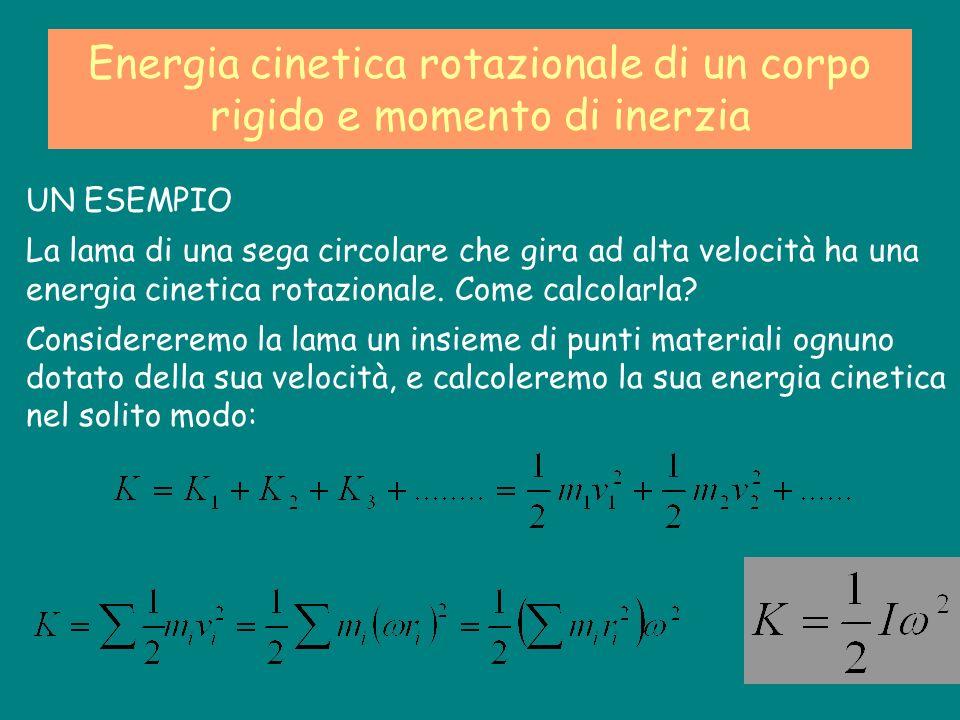 Energia cinetica rotazionale di un corpo rigido e momento di inerzia