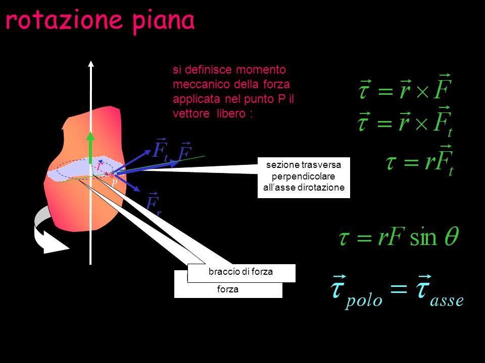 rotazione pianasi definisce momento meccanico della forza applicata nel punto P il vettore libero :