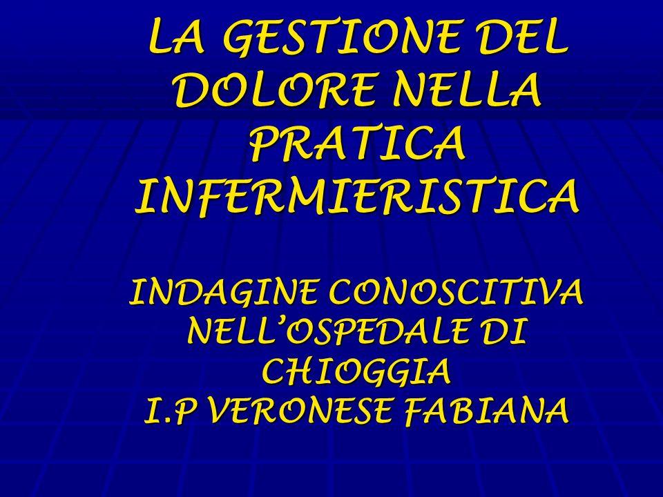 LA GESTIONE DEL DOLORE NELLA PRATICA INFERMIERISTICA INDAGINE CONOSCITIVA NELL'OSPEDALE DI CHIOGGIA I.P VERONESE FABIANA