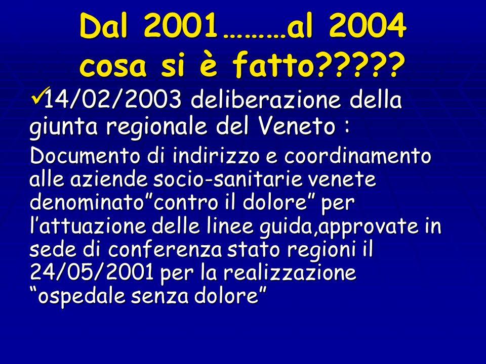 Dal 2001………al 2004 cosa si è fatto