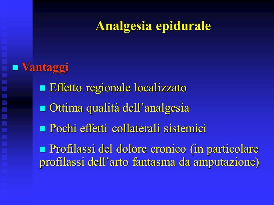 Analgesia epidurale Vantaggi Effetto regionale localizzato
