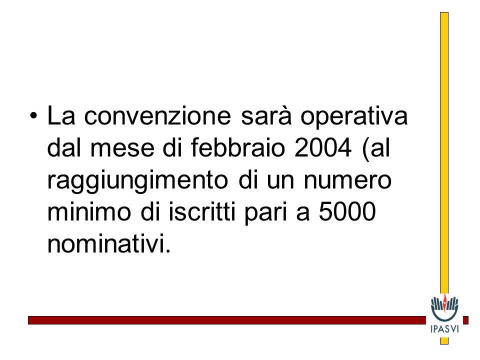 La convenzione sarà operativa dal mese di febbraio 2004 (al raggiungimento di un numero minimo di iscritti pari a 5000 nominativi.