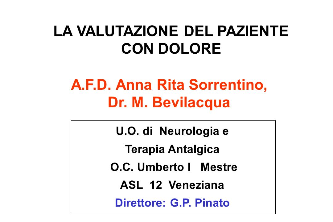 LA VALUTAZIONE DEL PAZIENTE CON DOLORE A.F.D. Anna Rita Sorrentino,