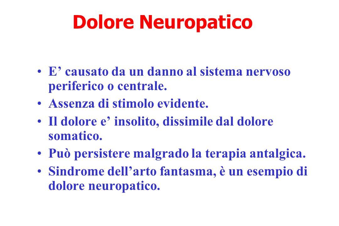 Dolore Neuropatico E' causato da un danno al sistema nervoso periferico o centrale. Assenza di stimolo evidente.