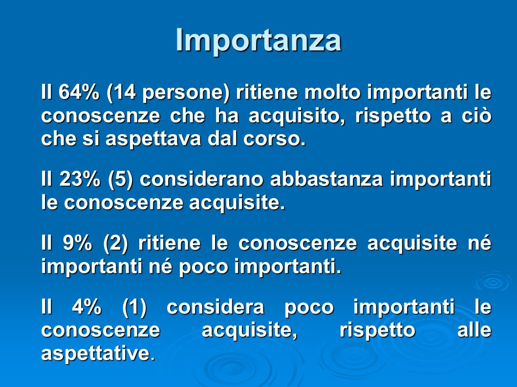 Importanza Il 64% (14 persone) ritiene molto importanti le conoscenze che ha acquisito, rispetto a ciò che si aspettava dal corso.