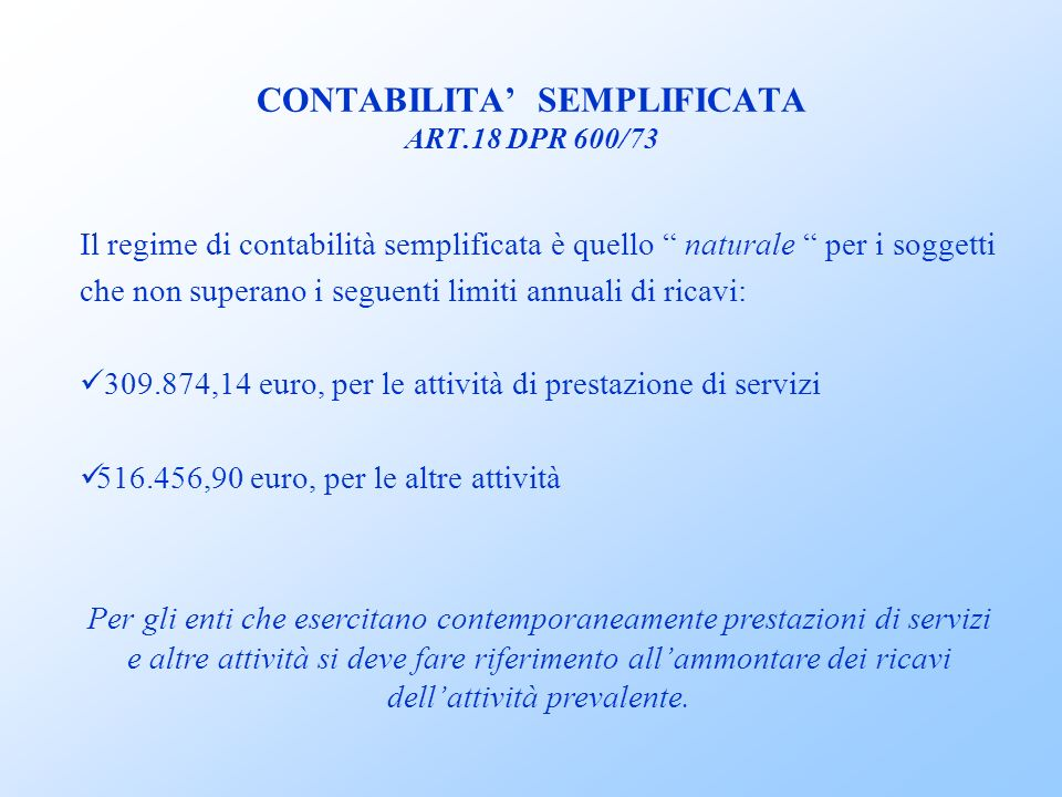 CONTABILITA' SEMPLIFICATA ART.18 DPR 600/73