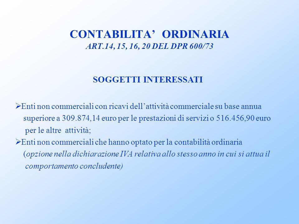 CONTABILITA' ORDINARIA ART.14, 15, 16, 20 DEL DPR 600/73