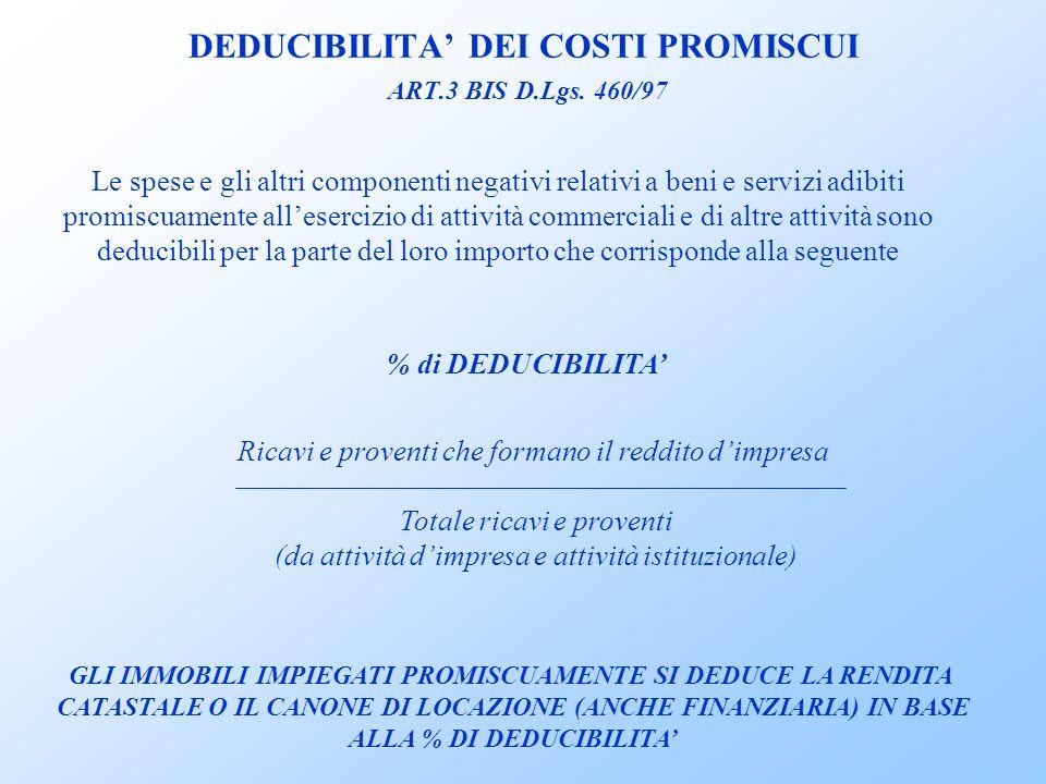 DEDUCIBILITA' DEI COSTI PROMISCUI ART.3 BIS D.Lgs. 460/97