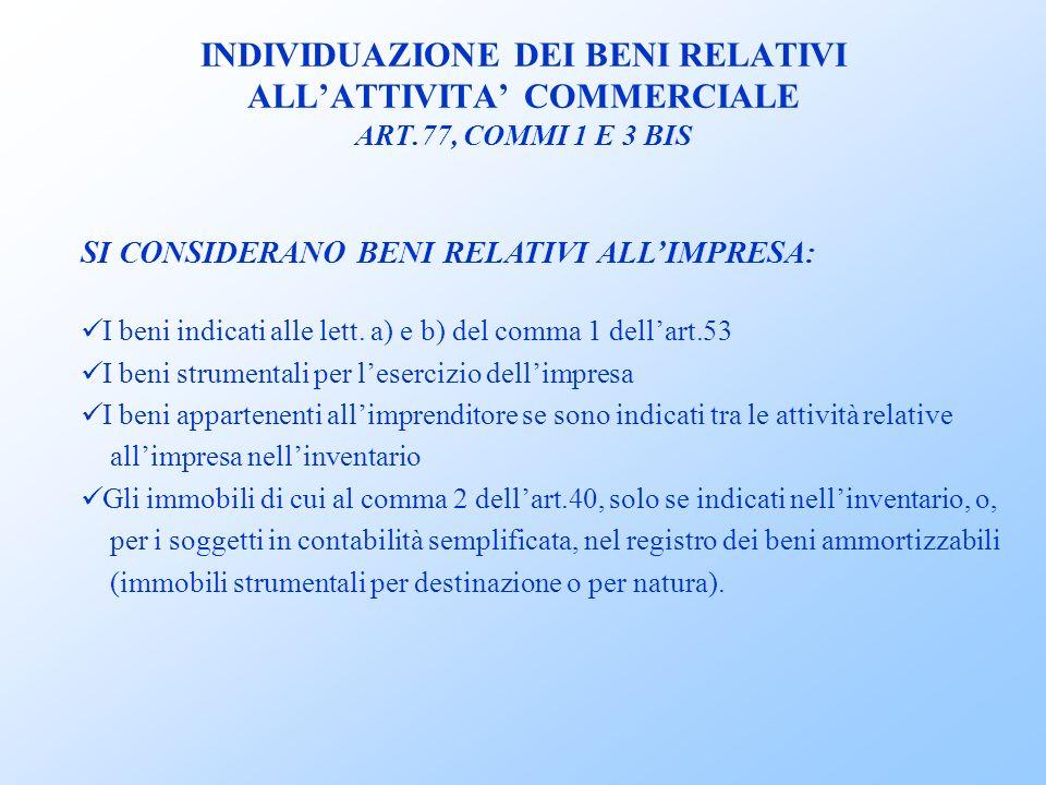 INDIVIDUAZIONE DEI BENI RELATIVI ALL'ATTIVITA' COMMERCIALE ART