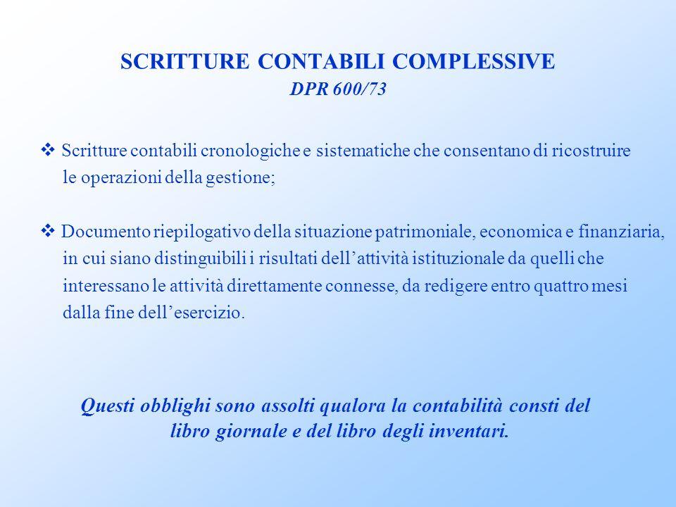 SCRITTURE CONTABILI COMPLESSIVE DPR 600/73