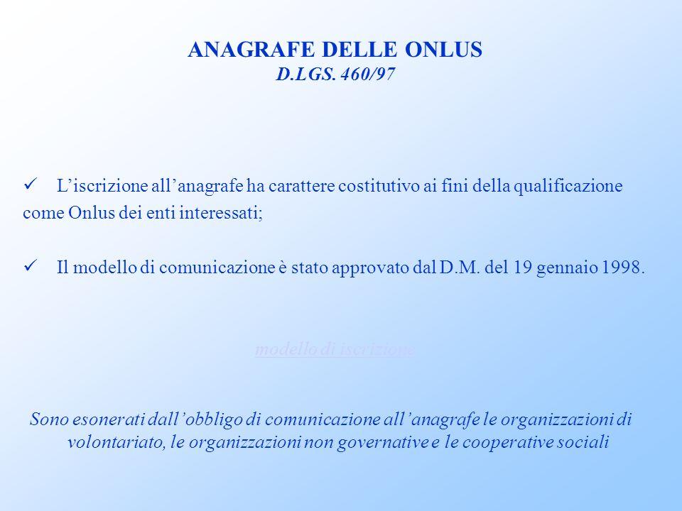 ANAGRAFE DELLE ONLUS D.LGS. 460/97