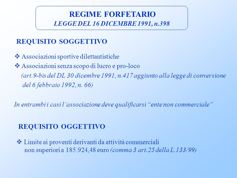 REGIME FORFETARIO REQUISITO SOGGETTIVO REQUISITO OGGETTIVO