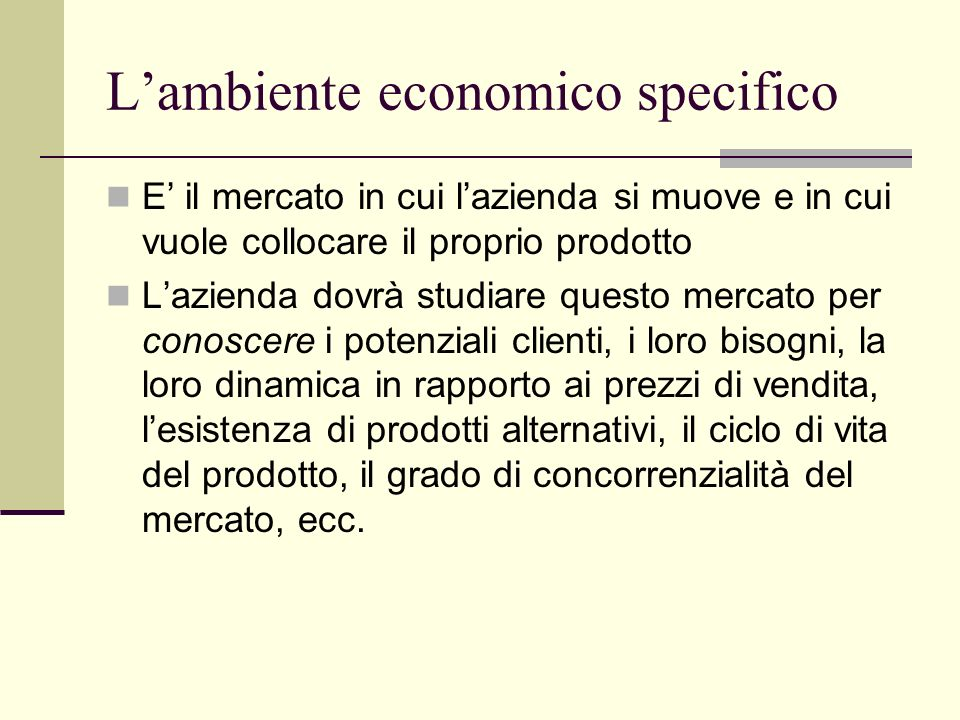 L'ambiente economico specifico