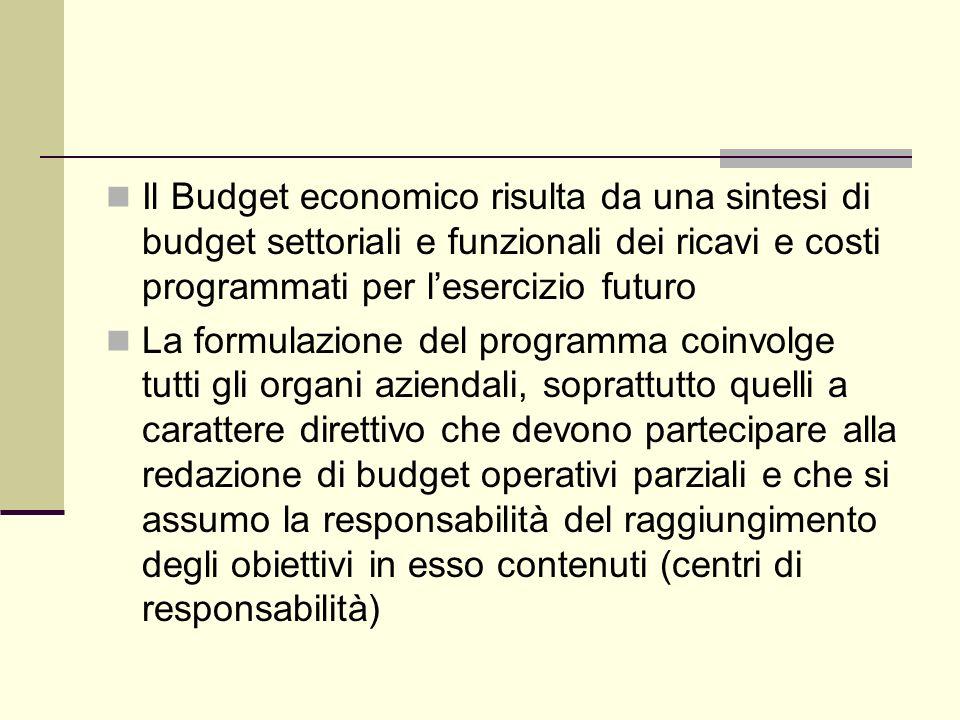 Il Budget economico risulta da una sintesi di budget settoriali e funzionali dei ricavi e costi programmati per l'esercizio futuro