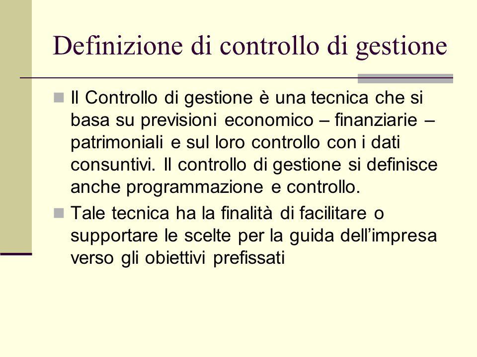Definizione di controllo di gestione