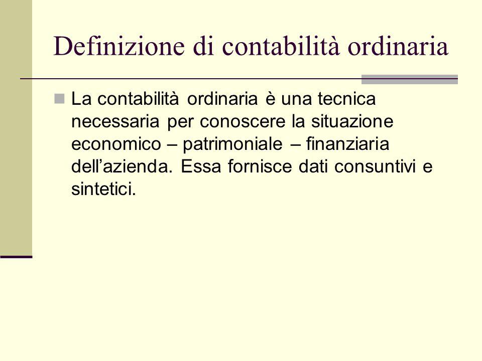 Definizione di contabilità ordinaria