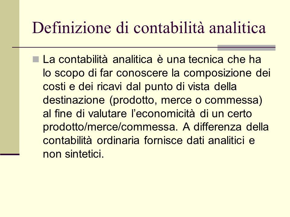 Definizione di contabilità analitica