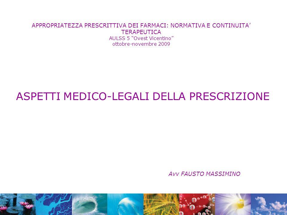 ASPETTI MEDICO-LEGALI DELLA PRESCRIZIONE