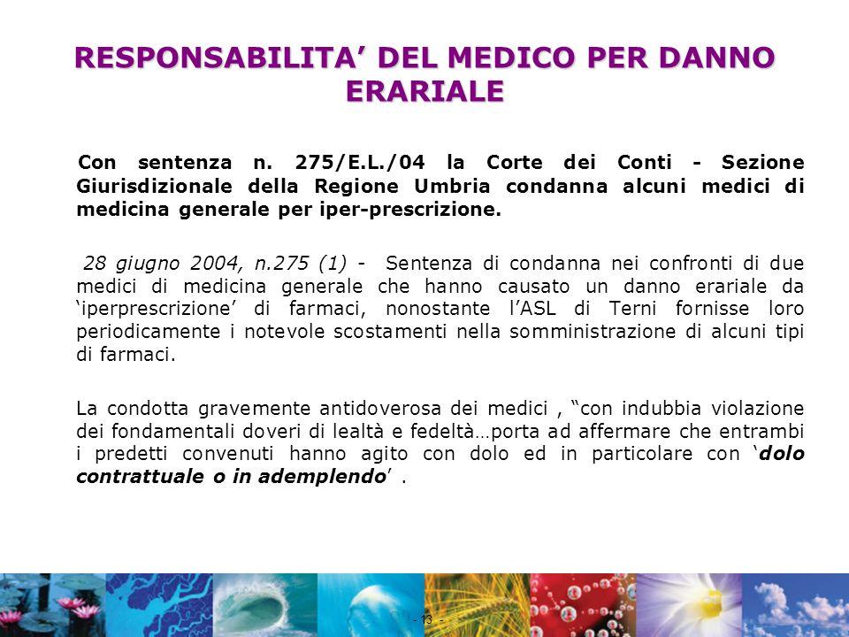 RESPONSABILITA' DEL MEDICO PER DANNO ERARIALE