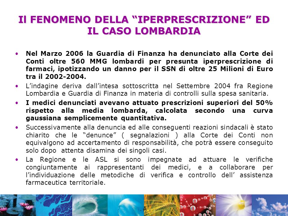 Il FENOMENO DELLA IPERPRESCRIZIONE ED IL CASO LOMBARDIA