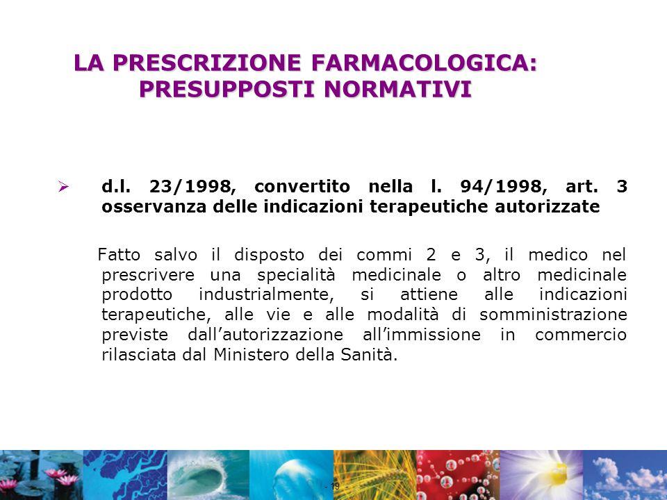 LA PRESCRIZIONE FARMACOLOGICA: PRESUPPOSTI NORMATIVI