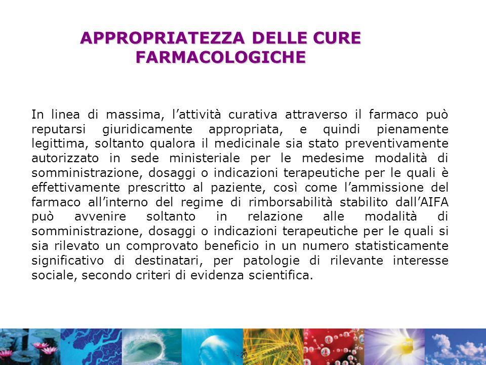 APPROPRIATEZZA DELLE CURE FARMACOLOGICHE