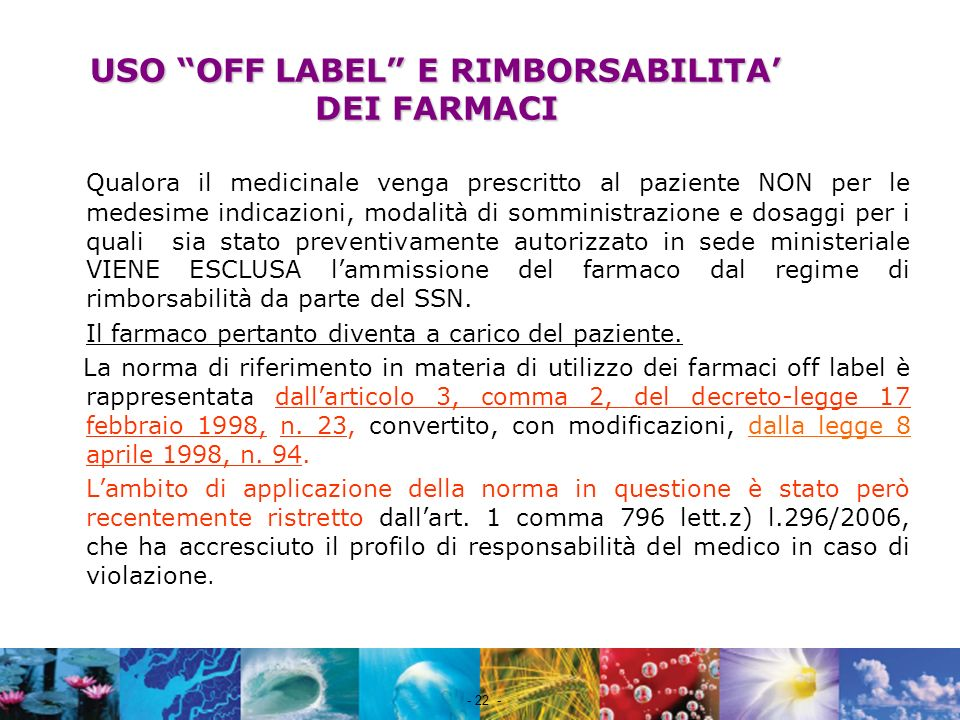 USO OFF LABEL E RIMBORSABILITA' DEI FARMACI