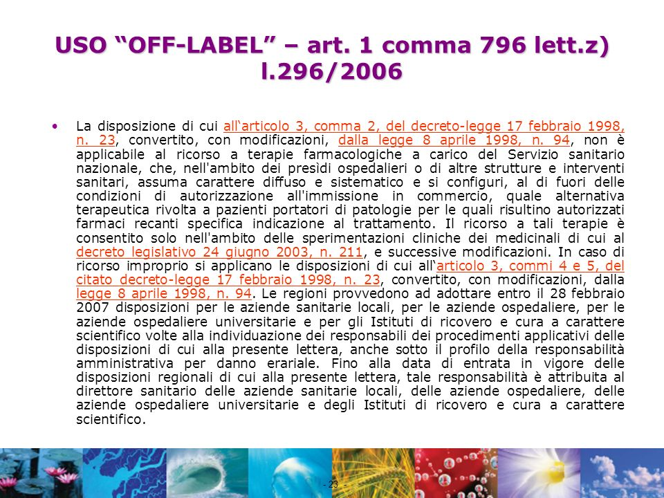 USO OFF-LABEL – art. 1 comma 796 lett.z) l.296/2006