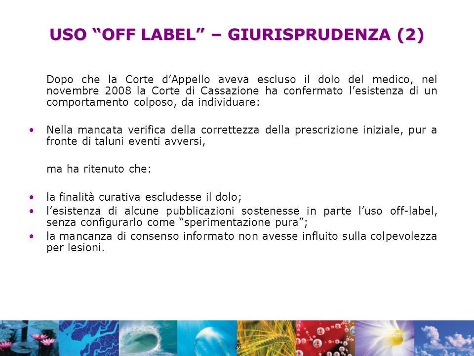 USO OFF LABEL – GIURISPRUDENZA (2)