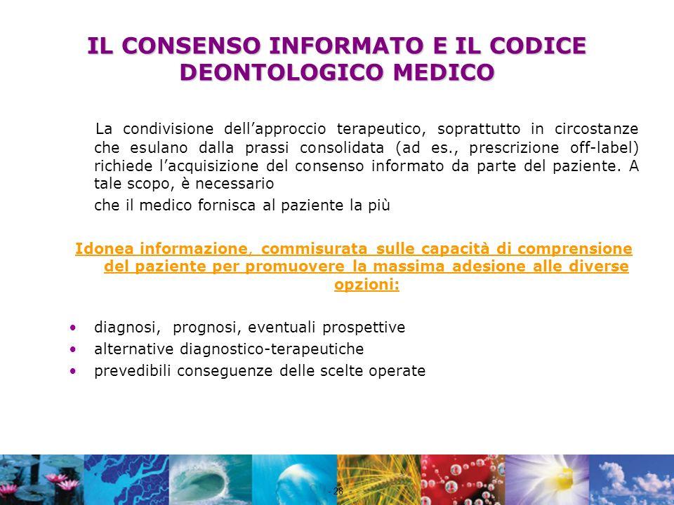 IL CONSENSO INFORMATO E IL CODICE DEONTOLOGICO MEDICO