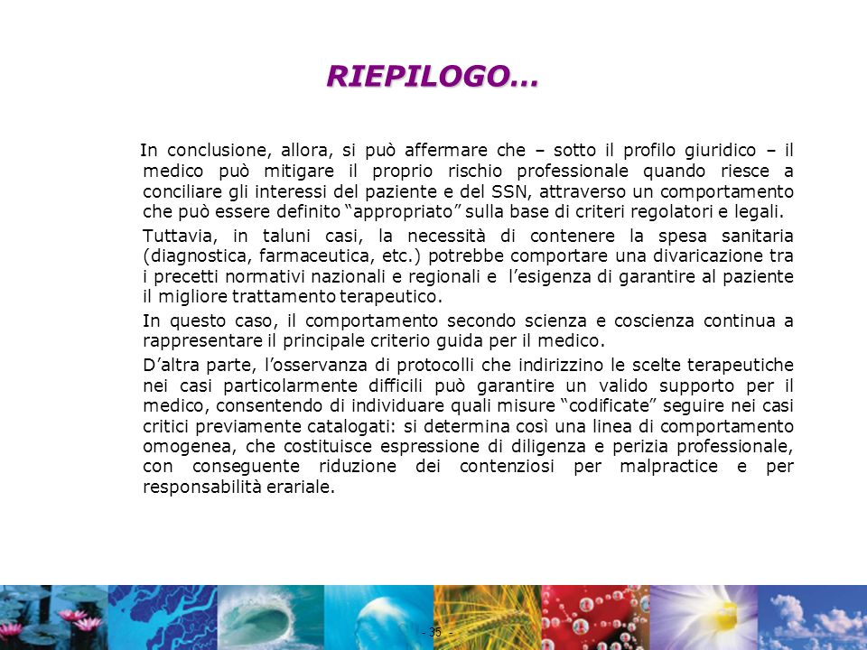 RIEPILOGO…