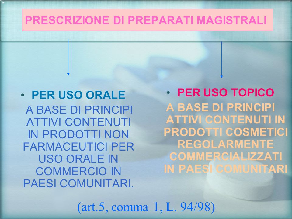 PRESCRIZIONE DI PREPARATI MAGISTRALI