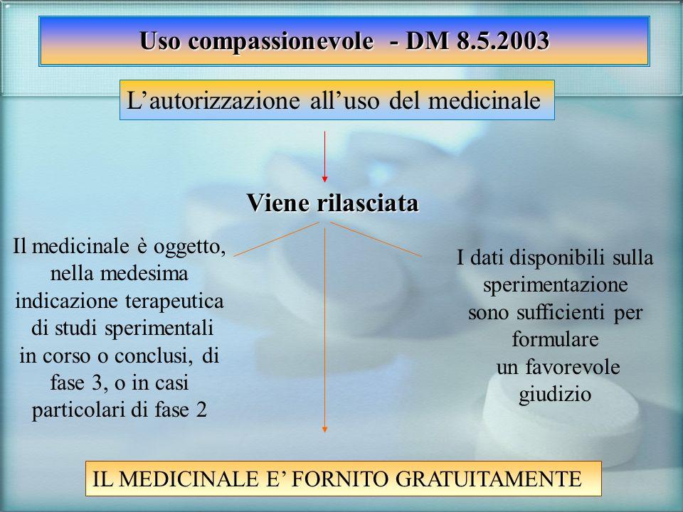 Uso compassionevole - DM 8.5.2003