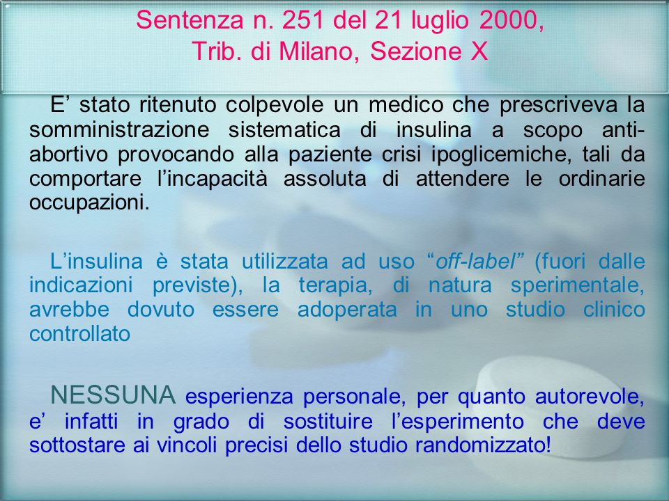 Sentenza n. 251 del 21 luglio 2000, Trib. di Milano, Sezione X