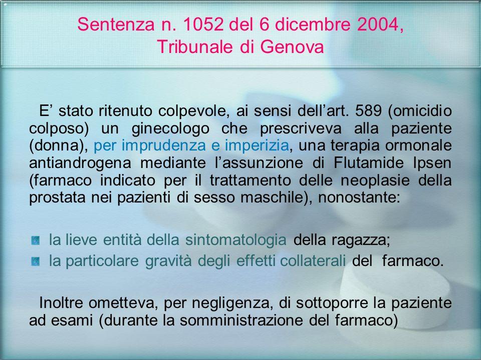 Sentenza n. 1052 del 6 dicembre 2004, Tribunale di Genova