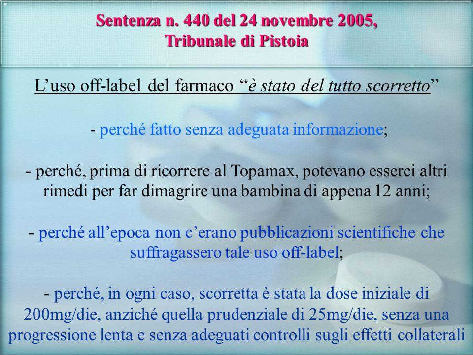 Sentenza n. 440 del 24 novembre 2005, Tribunale di Pistoia