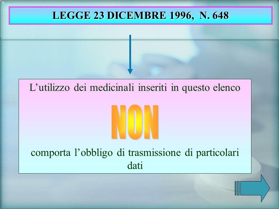 LEGGE 23 DICEMBRE 1996, N. 648 L'utilizzo dei medicinali inseriti in questo elenco. comporta l'obbligo di trasmissione di particolari dati.