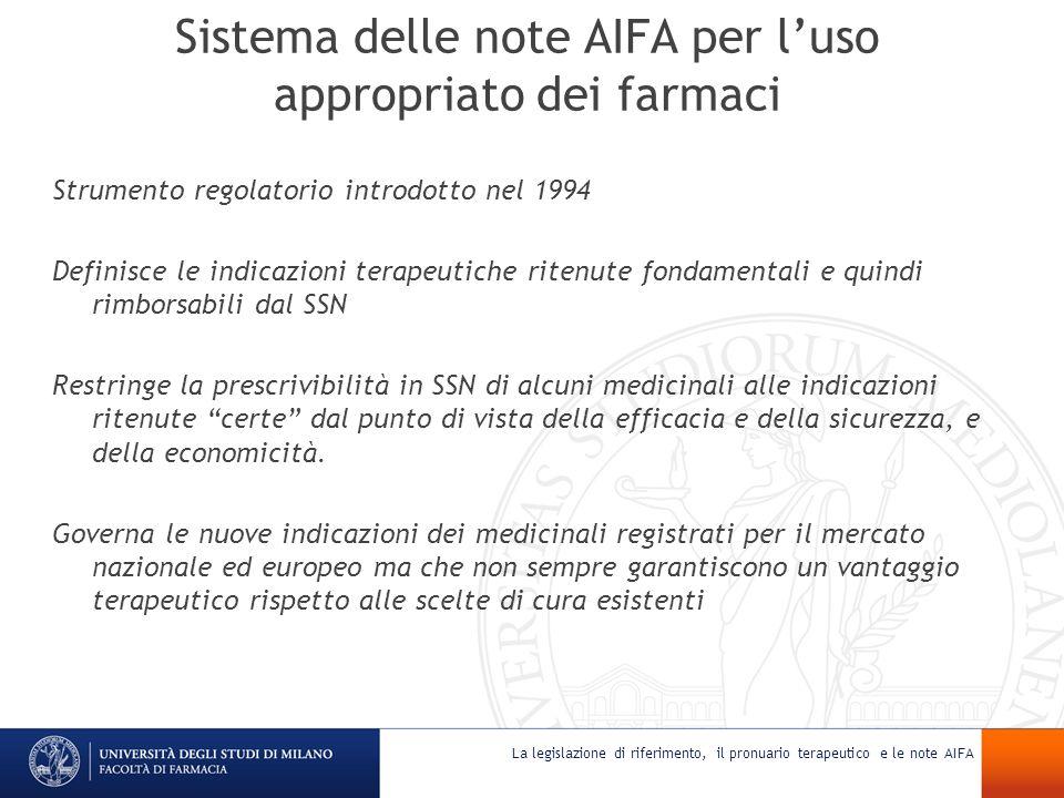 Sistema delle note AIFA per l'uso appropriato dei farmaci