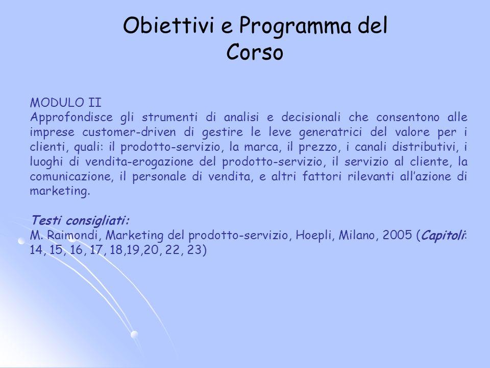 Obiettivi e Programma del Corso