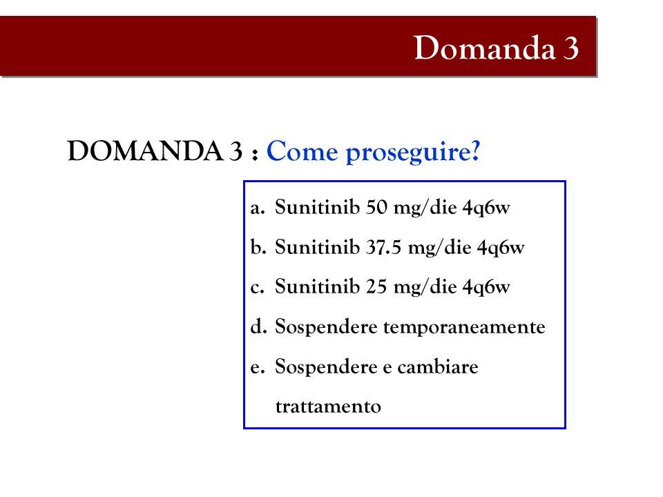 Domanda 3 DOMANDA 3 : Come proseguire Sunitinib 50 mg/die 4q6w