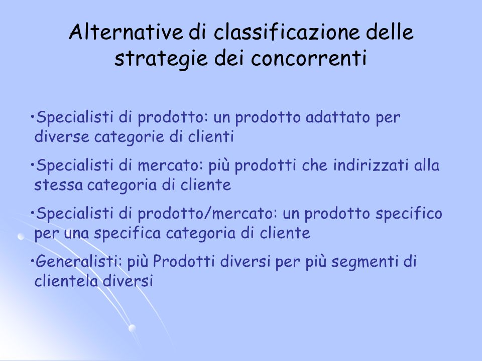 Alternative di classificazione delle strategie dei concorrenti