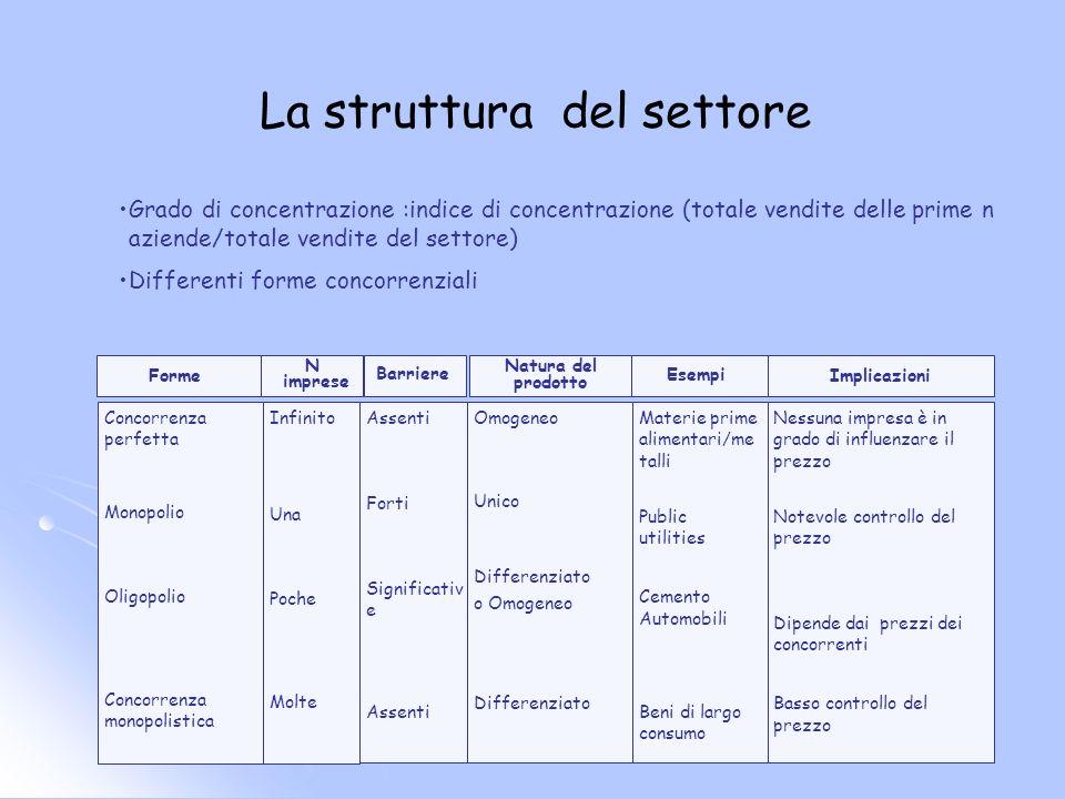La struttura del settore