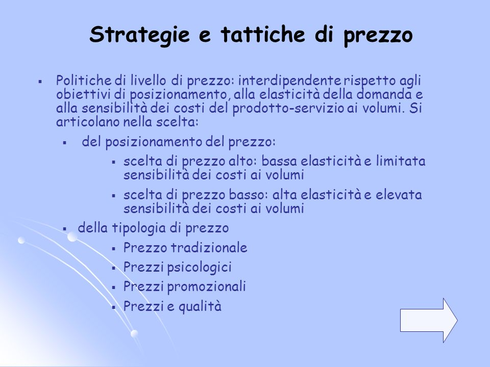 Strategie e tattiche di prezzo