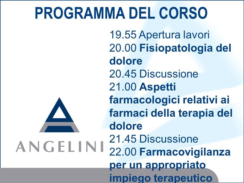 PROGRAMMA DEL CORSO 19.55 Apertura lavori